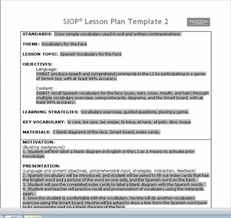 Siop Plan (For Taralyn) And Reflection - Ciro'S Ell Portfolio